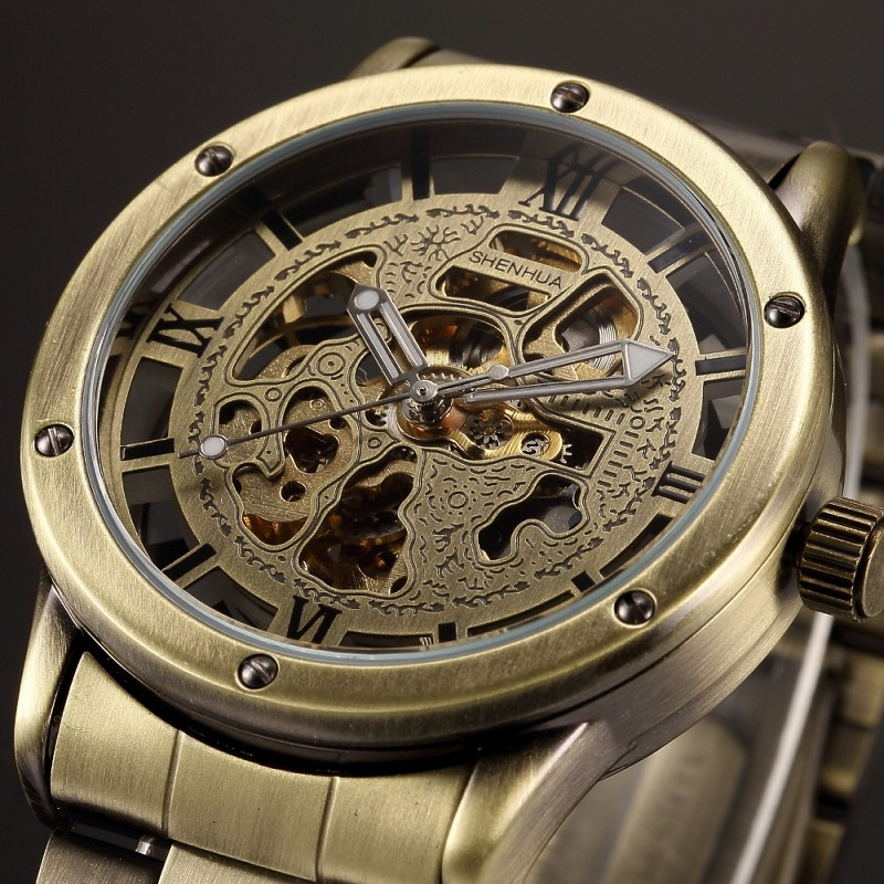 Brand Vintage Bronze Luxury Men watches Automatic Skeleton Clock Male Antique Steampunk Casual Mechanical WristWatches relogio