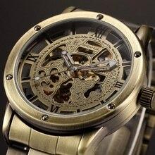Marca Vintage Antique Steampunk de Bronce de Lujo de Los Hombres relojes Esqueleto Reloj Automático Masculina Mecánica Casual Relojes de Pulsera relogio