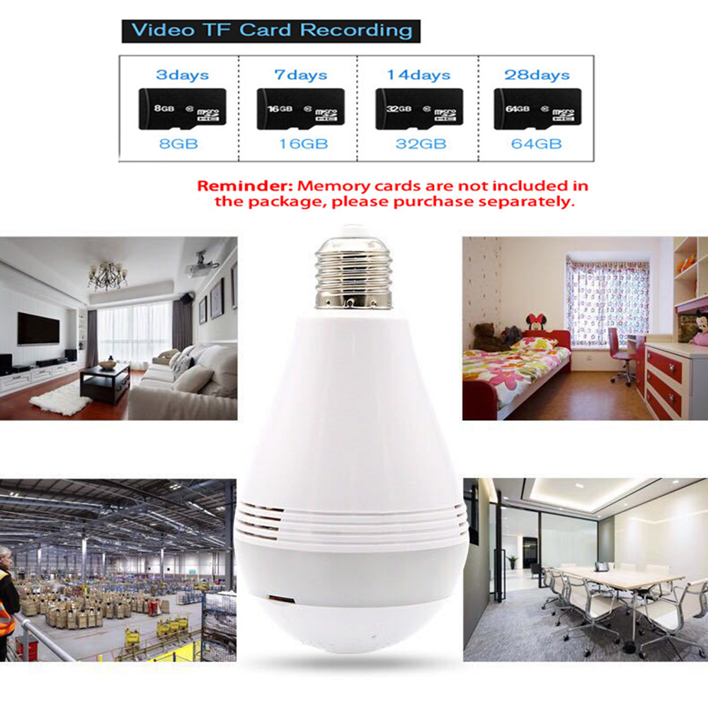 Image 5 - 360 Degree Wireless WIFI IP Light Camera 1080P Bulb Lamp Panoramic FishEye Smart Home Monitor Alarm CCTV WiFi Security Camera-in Surveillance Cameras from Security & Protection