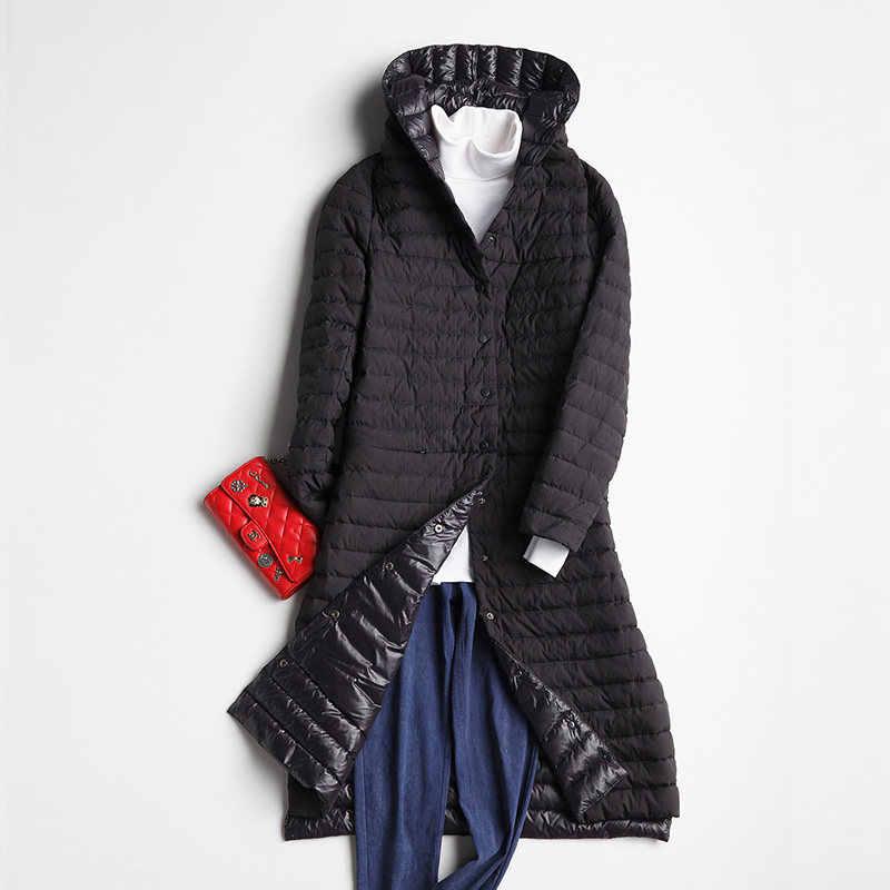 Женское длинное пальто с капюшоном, Осеннее/зимнее, однобортное, тонкое, с белым гусиным пухом, элегантные, тонкие, ветронепроницаемые, Mw463