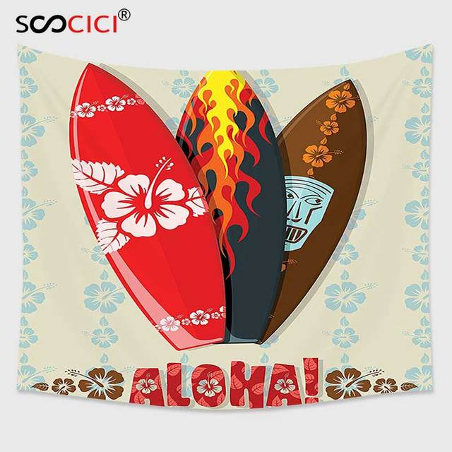 Cutom Tapestry Wall Hanging,Hawaiian Gifts Aloha Hawaii Surfboards Tiki Tropical Flowers Orchids Surf Beach Volcano Indian