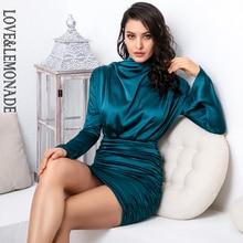 فستان حفلات ضيق من LOVE & LEMONADE ذو ياقة عالية وفضفاض من الجزء العلوي من الجسم مزين بطيات مرن من الحرير الصناعي طراز LM81722