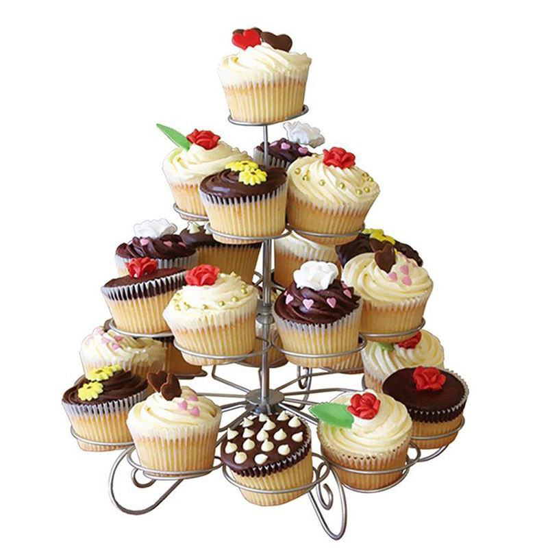 EZLIFE 23 Cups European-style Multifunction Christmas Tree Shape Birthday Party Cup cake Stand Iron 4 Tier Cake Stand Holder