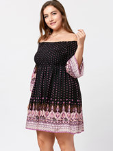 Plus Size Off The Shoulder Women Dress Boho Tunic Dress Large Size 5XL