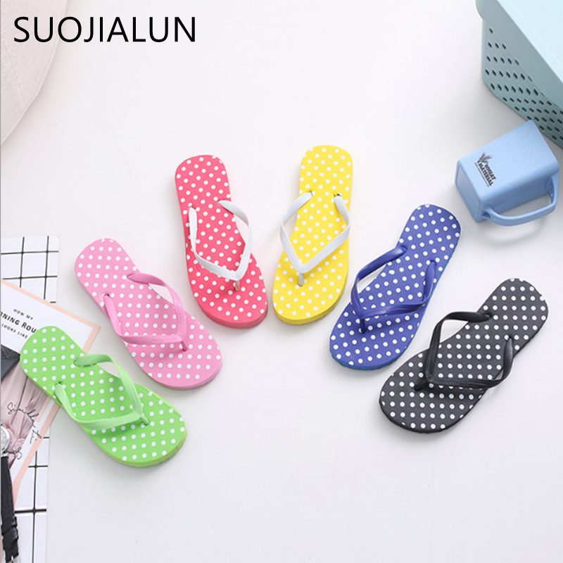 SUOJIALUN Women Flip Flops Shoes Slippers Fashion Designer Beach Ladies Summer Outside Sandals Mujer Flats Slides instantarts women flats emoji face smile pattern summer air mesh beach flat shoes for youth girls mujer casual light sneakers