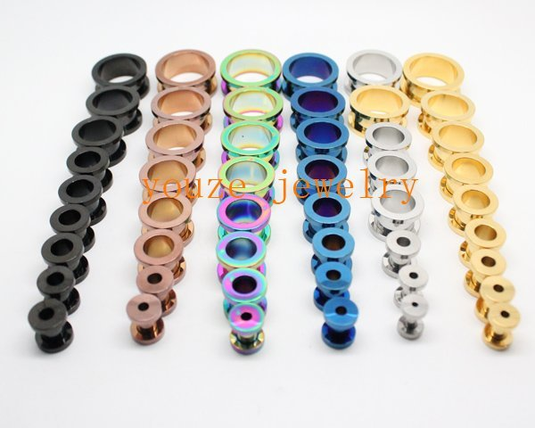 Mixed 10 Sizes*6 Colors Vacuum Plating Titanium 316L Stainless Steel Ear Plug Piercing Flesh Tunnel