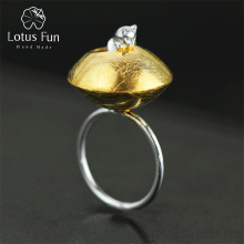 Lotus Fun Real 925 Sterling Silver Natural Handmade Creative