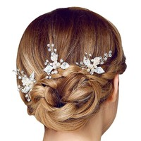 3PCs Fashion Bride Girl Leaf Design Rhinestone Faux Pearls Hair Stick Hairpin Prom Bridal Accessory