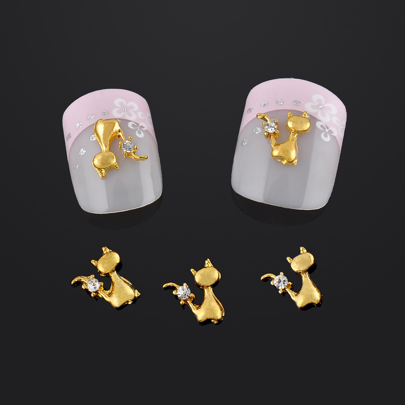 10pcs/pack Lovely Gold Cat Nail Art Decorations Glitter Rhinestones Decoration Nails Art Alloy 3d Nail Jewelry Free Shipping 10pcs glitter crystal nail gem rhinestones alloy 3d nail art jewelry diy phone case decoration mns784