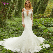 Waulizane Sexy Scalloped Neck Mermaid Wedding Dresses With Full Sleeve Cap Tulle Court Train Bridal Dress