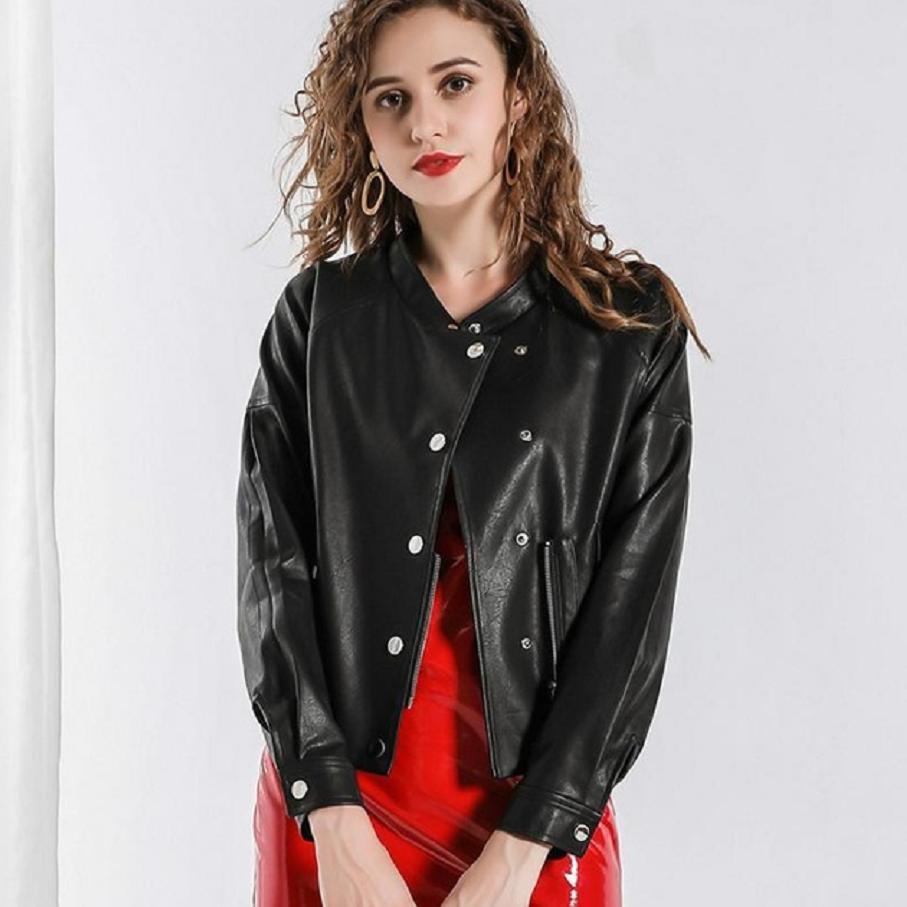 Autumn fashion women PU   leather   jacket coat Motorcycle jacket female slim was thin single breasted high-end PU outerwear L1264