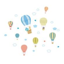 Cartoon Hot Air Balloon Cloud Wall Stickers For Kids Rooms Children Bedroom accessories Home Decor Animals Wall Decals Mural Art [shijuekongjian] hot air balloon wall stickers diy cartoon wall decals for kids rooms baby bedroom shop glass decoration
