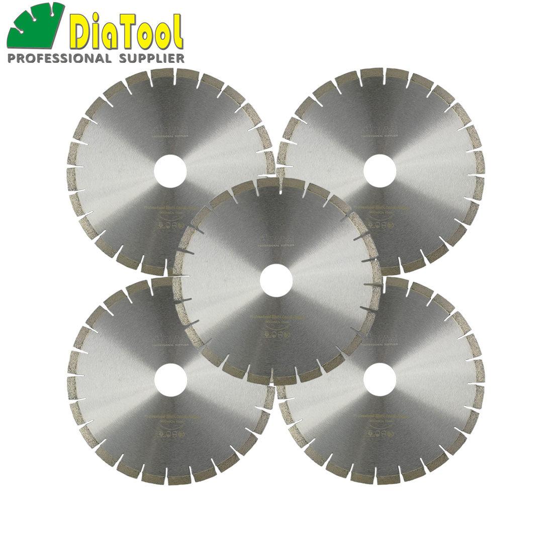 DIATOOL 5pcs 14inch 370mm Professional Quality Diamond Silent Saw Blades Wet Granite Cutting Disc Bore 60MM Sandwich Steel Core