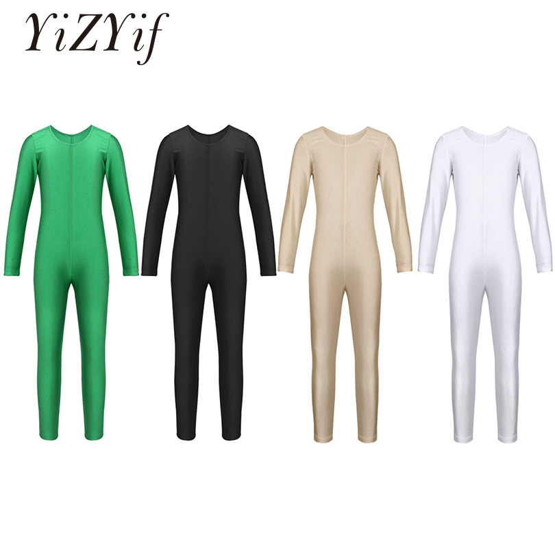 YiZYiF Ballet Gymnastics Unitard Girls Long Sleeve Full Body leotard Dance Catsuit Bodysuit Lycra Dancewear Skin Tight For Girl