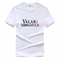 Hot The Game Of Thrones Men S T Shirt Valar Morghulis Letters Casual Shirt Fashion Cotton