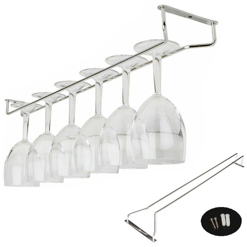 27/35/55cm Stainless Steel Wine Glass Rack Hanging Wine Rack Glass Holder Hanging Bar Hanger Shelf Wine Glass Goblet Cup Rack