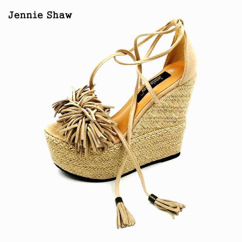 High Heel Sandals Women Wedges Shoes Strew Heel Tassel Sandal Sys-1117