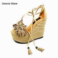 Yüksek Topuk Sandalet Kadın Takozlar Ayakkabı, Uzerine Topuk Püskül Sandal Sys-1117