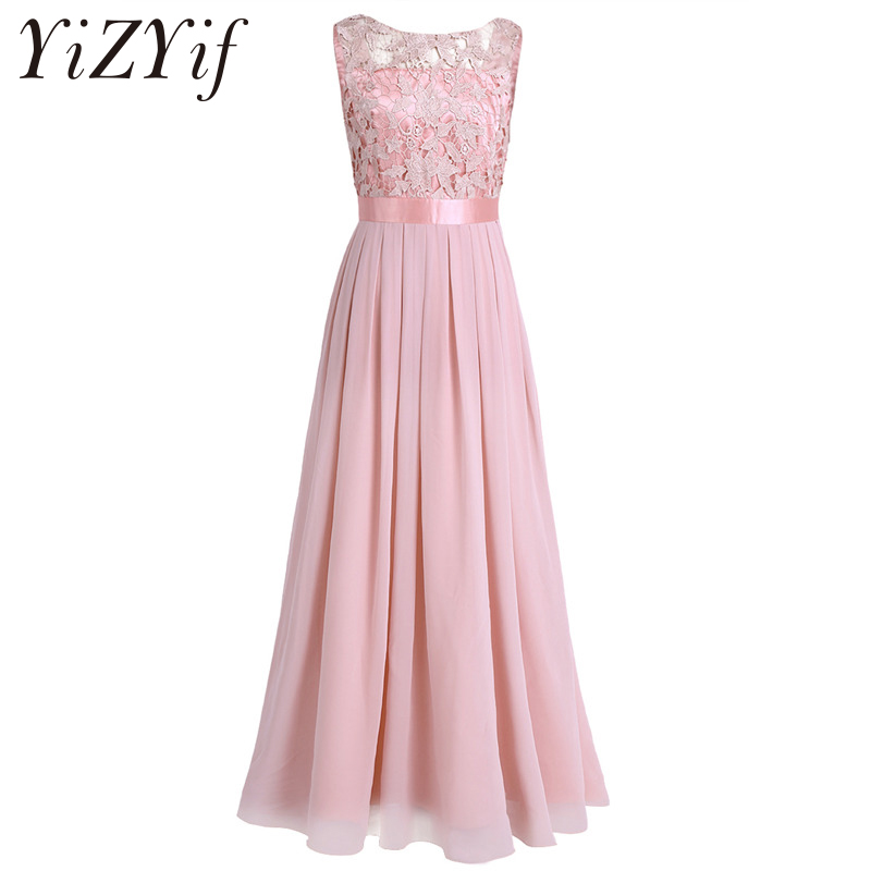 YiZYiF Women Ladies Summer Chiffon Sleeveless Floor Length Embroidered Dress Party Pageant Wedding Formal Dress for Bridesmaid-in Dresses from Women's Clothing on AliExpress - 11.11_Double 11_Singles' Day 1