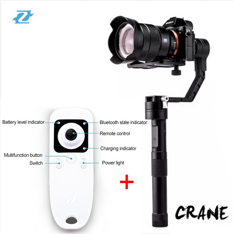 Zhiyun Crane Gimbal with wireless remote control Handle Mirroless font b camera b font GH4 A7S