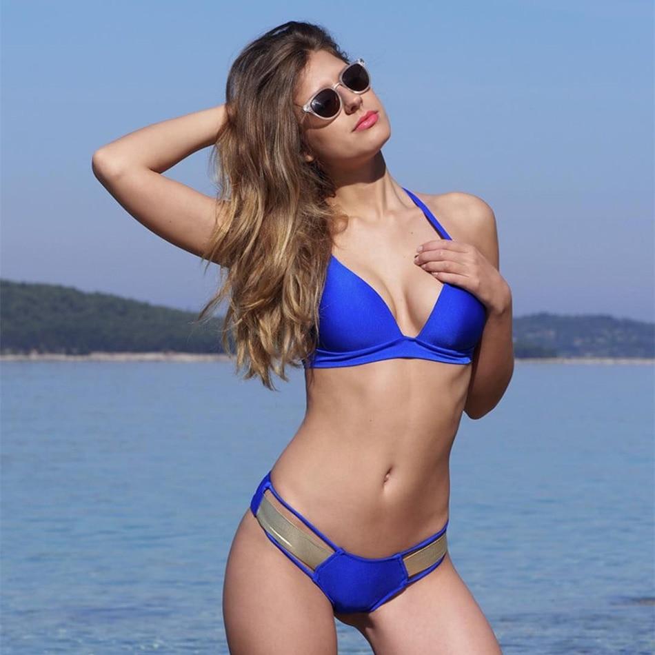 49e25b267fff7 Push up Bikini 2018 Bandage Women Swimwear Bronzing Swimsuit Female  Beachwear Blue Bathing Suit Brazilian Bandeau Bikinis Set - imall.com