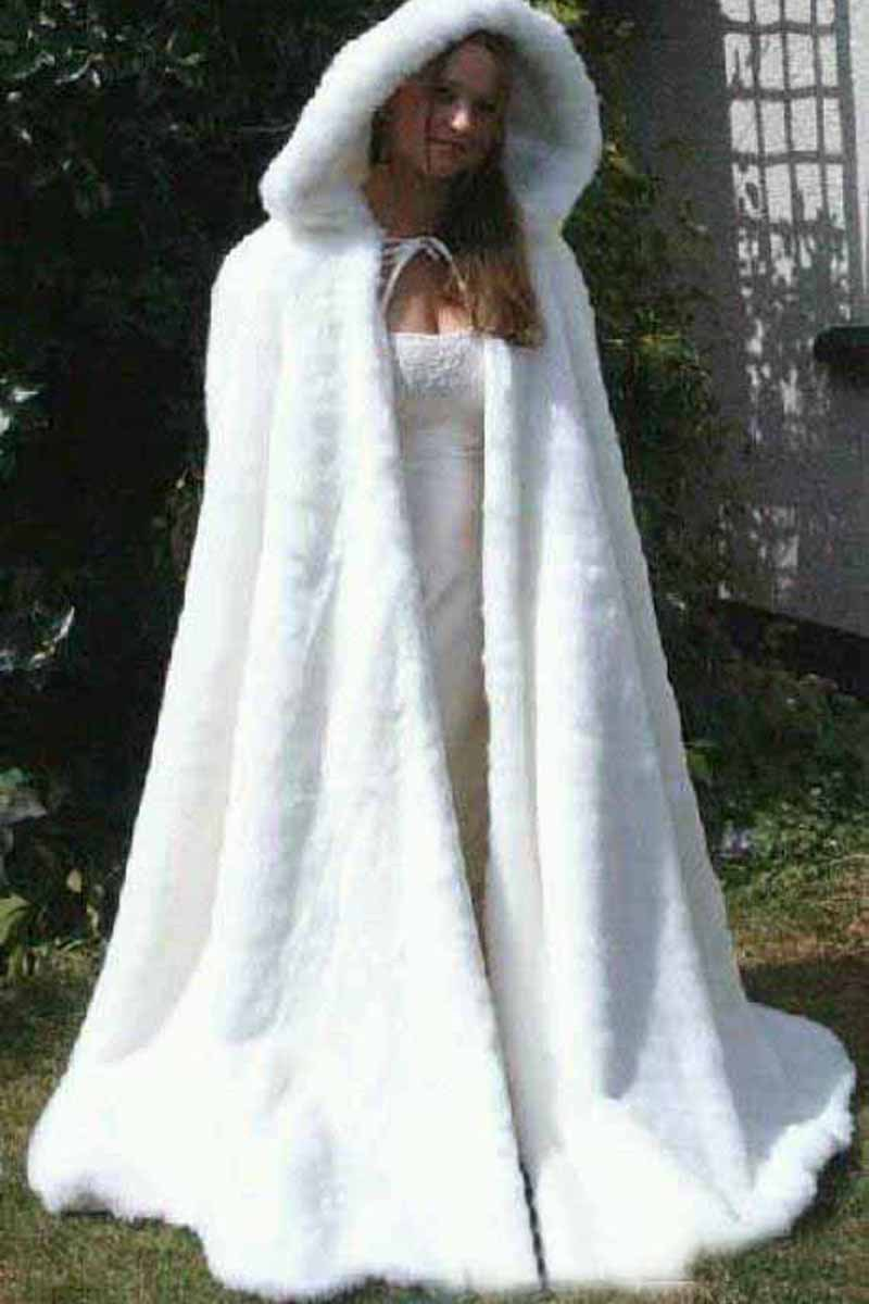 Cheap bridal cape ivory stunning wedding cloaks hooded for Winter wedding dresses for sale
