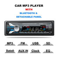 Auto Car Radio Audio Stereo MP3 Player 1 Din Bluetooth 12V 7 Color Light Front Detachable