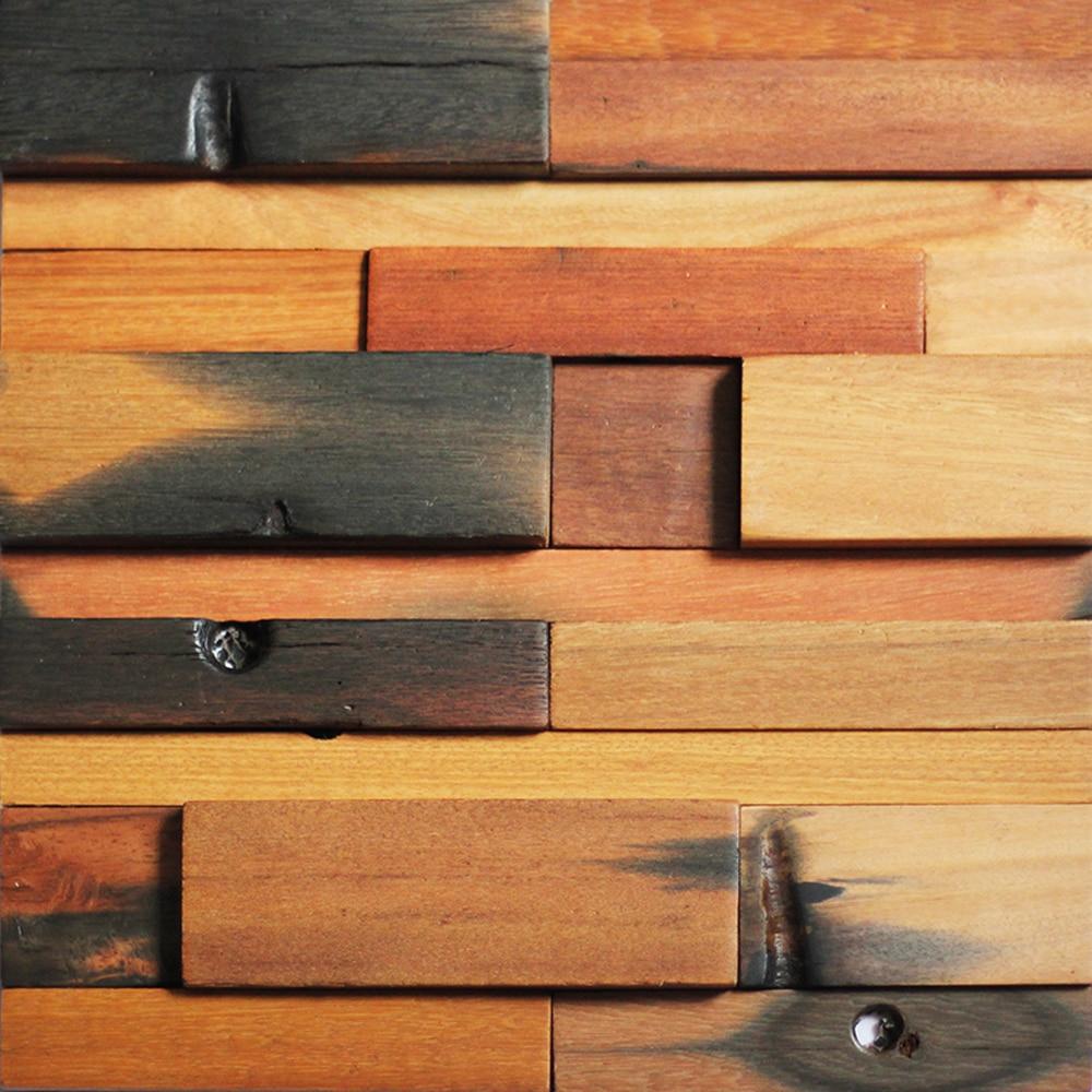 Starobylé dřevěné desky z přírodního dřeva Desky z mozaiky z backsplash přírodního dřeva Dekorační dřevěné stěnové dlaždice na 1 metr čtvereční