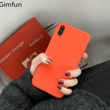 Gimfun moda naranja teléfono sólido caso para Iphone Xs Max Xr caramelo Scrub del carcasa para Iphone 6s 7 8plus X contraportada suave