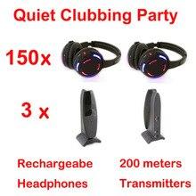 Silent Disco complete system black led wireless headphones – Quiet Clubbing Party Bundle (150 Headphones + 3 Transmitters)