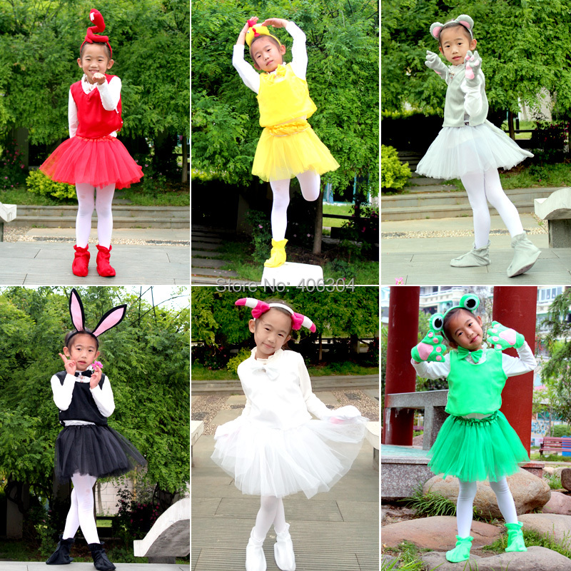 Kid Animal Costume Rabbit Mouse Monkey Bear Wolf Frog Fox Pig Gloves Headband Tutu Halloween Party Cosplay Girl Dress Cartoon Home