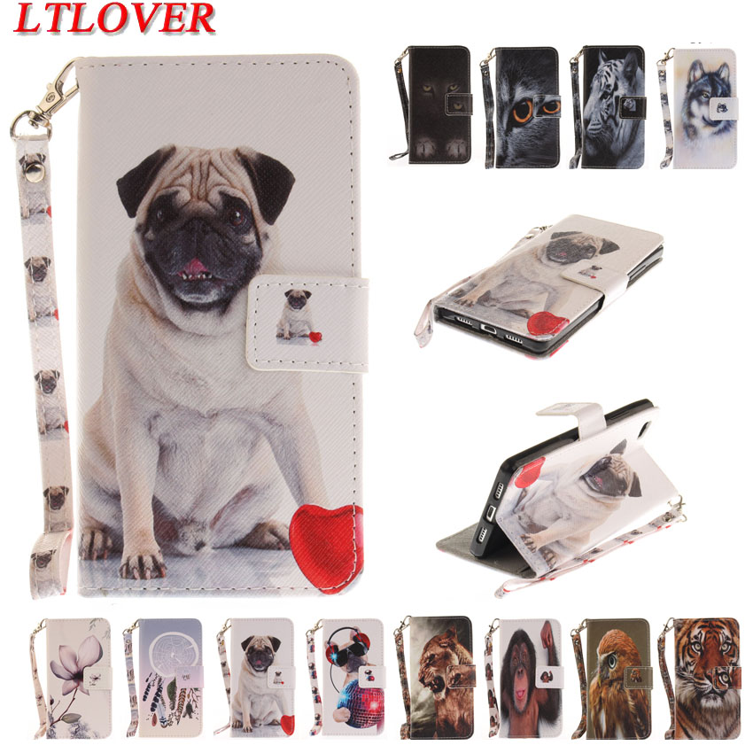 New animal tiger lion owl wolf painted PU leather case for Huawei P8 Lite 2017 P9 Lite P10Lite walletcolored hand rope cover
