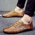 2017 Nuevos Zapatos de Los Hombres Cómodos de Cuero Suave Zapatos Planos Zapatillas Superstar Leather Lace Up Zapatos de Los Hombres Causales Holgazanes Respirables