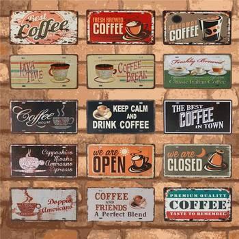 Nuevo café es siempre cartel Vintage Metal letrero placas arte de pared decoración del hogar Vintage señales de estaño para pub Bar decorativo 15X30CM C15