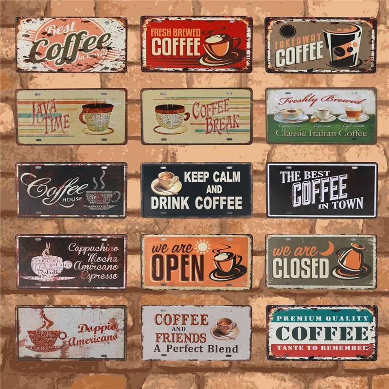 Nuevo café es siempre cartel Vintage placas de Metal arte de pared decoración del hogar Vintage señales de estaño para pub Bar decorativo 15X30CM C15 RGB luz de neón cinta Flexible LED señal de neón lámpara de luz nocturna 2835 5050 120 LEDs/m LED tira remota 24Key 110V 220V