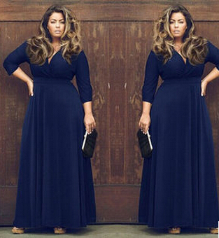 151fe51457c90 US $20.33 9% OFF|Sexy V Neck Women Long Dress Plus Size XXL XXXL 3XL Female  Maxi Dress Autumn Winter Party Long Vestidos Large Big Size Clothing-in ...