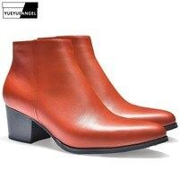 Новые зимние мужские ботинки из натуральной кожи на высоком каблуке, теплые плюшевые ботильоны с острым носком на молнии, Рабочая обувь, муж