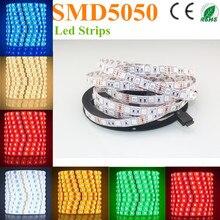 500 м светодиодный светильник 5050 SMD 12 В гибкий светильник 60 Светодиодный/м, 5 м 300 светодиодный, не водонепроницаемый, белый, белый теплый, синий, зеленый, красный, желтый dhl