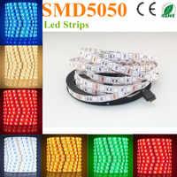 500メートルledストリップ5050 smd 12ボルト柔軟なライト60led/メートル、5メートル300led、非防水、白、白暖かい、青、緑、赤、黄色freeによってdhl