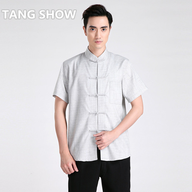 Novelty Striped Chinese Men's Kung Fu Shirt Summer Hot Sale Cotton Linen Casual Tops  Clothing M L XL XXL XXXL 2602