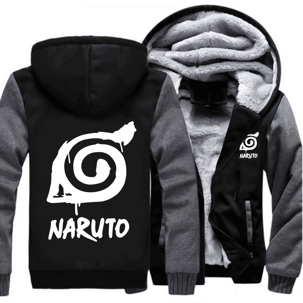 USA size Anime NARUTO Sweatshirt Cosplay Zipper Jacket Thicken Hoodie Coat Clothing Men Casual jacket