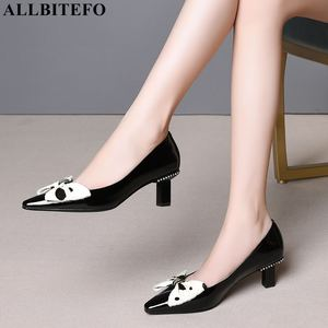 Image 2 - ALLBITEFO sweet bowtie full genuine leather high heels office ladies shoes high quality women high heel shoes women heels