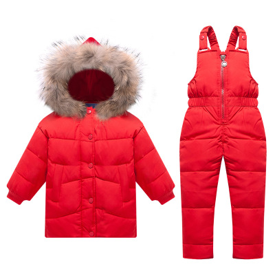 Russia Winter Children Clothing Sets Snow Jackets Pant 2pcs Set Baby Girls Duck Down Coats Jacket Fur Hood Waterproof Outwear russia winter children down jacket clothing sets girls ski suit set sport boys jumpsuit snow jackets coats bib pants 2pcs set