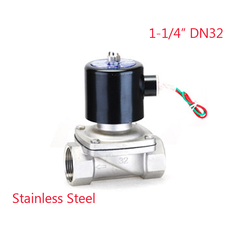 Electric Solenoid Valve Water Air N/C 2 Way 1-1/4 AC 220V 2W320-32 Stainless Steel Body DC12V 24V AC110V 220V Water Valve tf20 s2 c high quality electric shut off valve dc12v 2 wire 3 4 full bore stainless steel 304 electric water valve metal gear