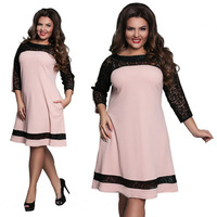 5XL 6XL Large Size 2017 Spring Summer Dress Big Size Pink Elegance Lace Dress Straight Dresses