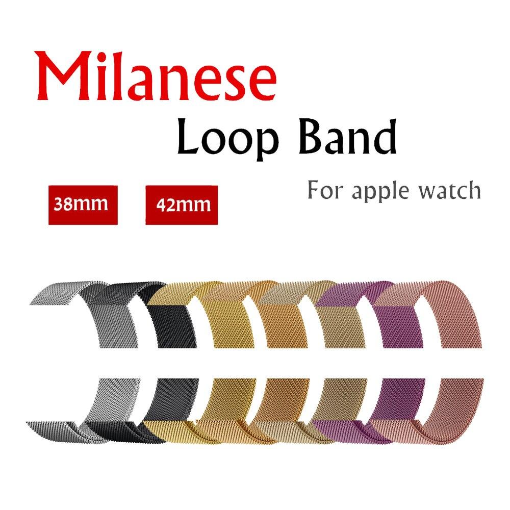 Milanese Schleife strap band Für Apple Uhr 42mm/38mm iwatch 3/2/1 Edelstahl link Armband handgelenk armband magnetische schnalle
