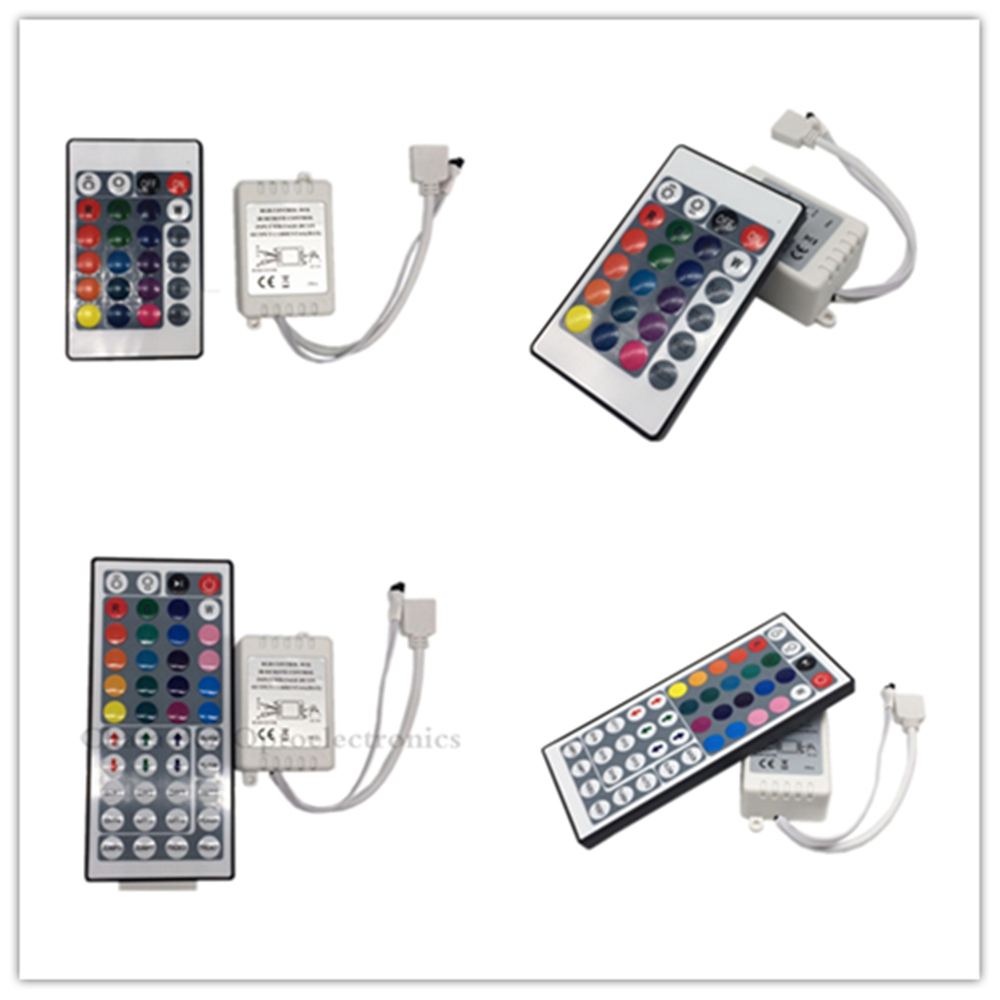 24 Key 44 Keys IR Remote Control And IR Receiver For 3528 5050 RGB Led Strip 10M, Have Two Connectors