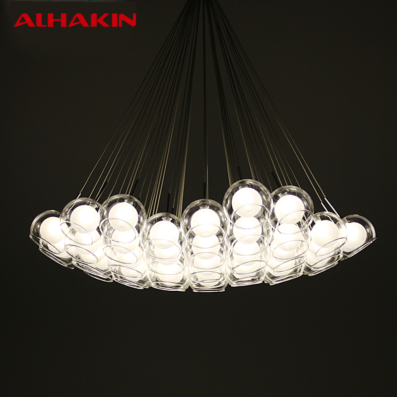 Alhakin 7 10 15 19 Heads Glass Ball Chandelier Crystal Droplight For Restaurant Home Indoor Decorative Lighting G4 Led Lamp In Pendant Lights From