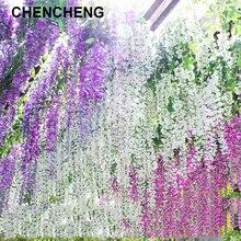 Chencheng 110 cm comprimento 24 peças/lote artificial wisteria seda flor videira parede pendurado casa festa de casamento decoração