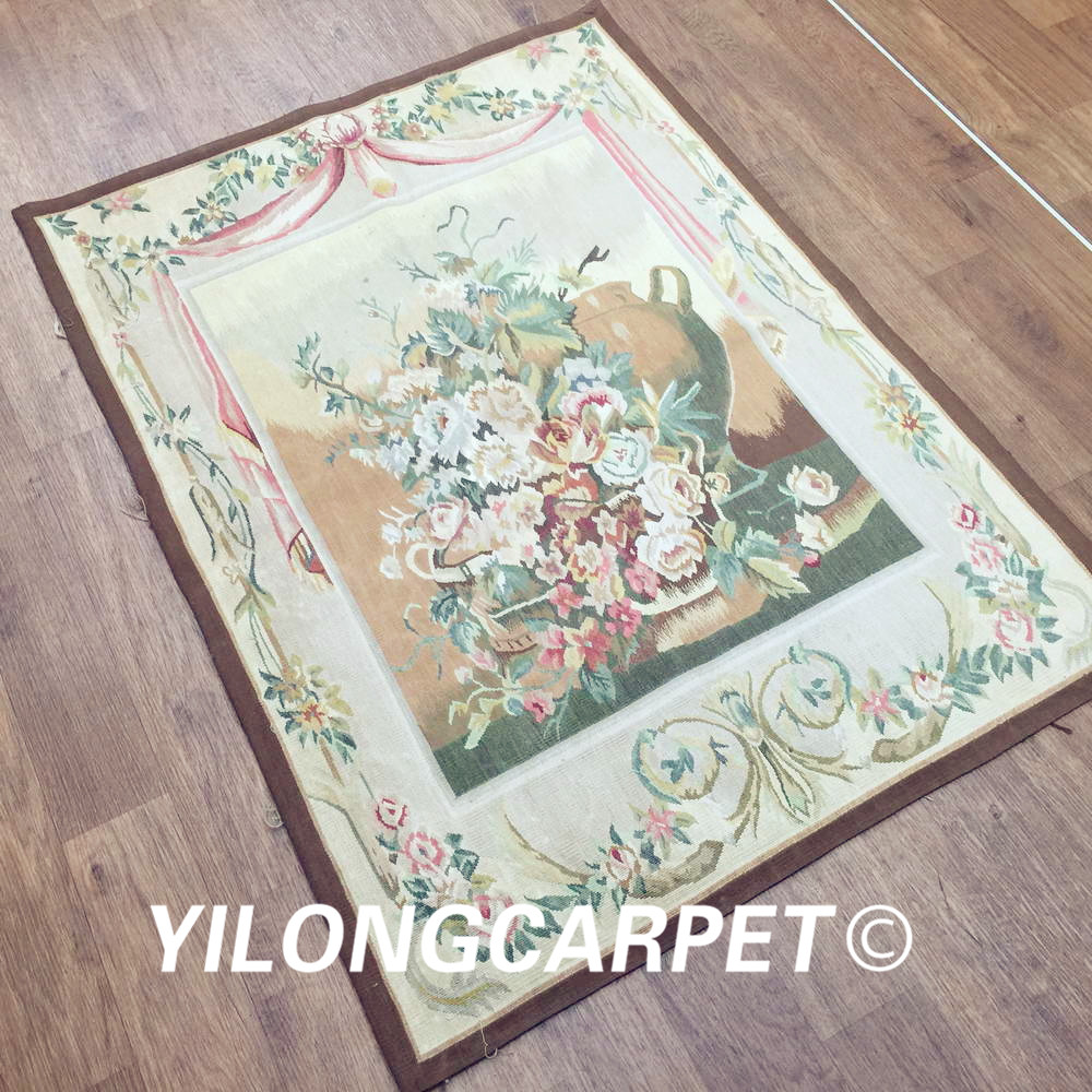 Yilong 3.1'x4.2' customized flat weave handmade french wool aubusson style wall tapestry (Au38 3.1x4.2) - 2